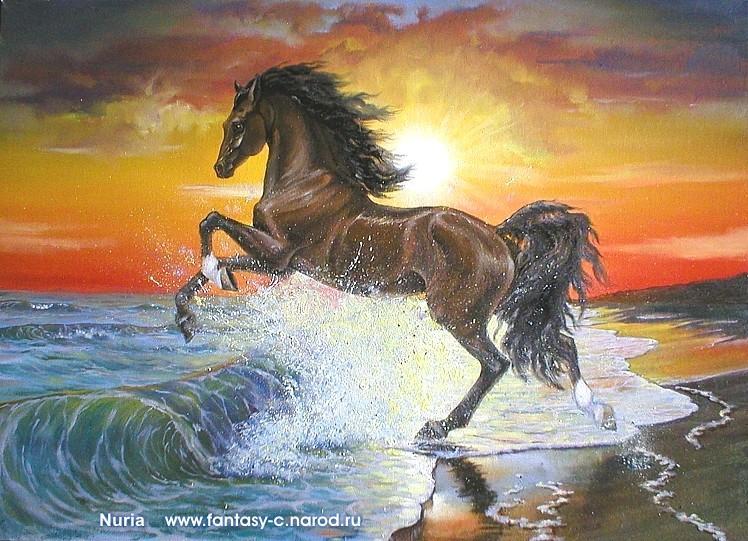 """Предпросмотр схемы вышивки  """"лошадь закат море """" ."""